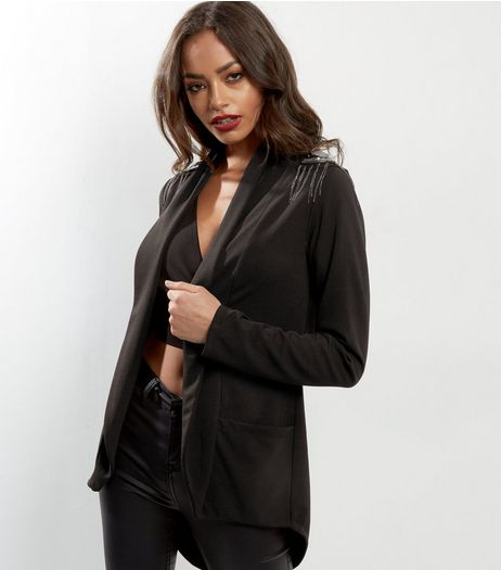 Mela Black Shoulder Detail Jacket  | New Look