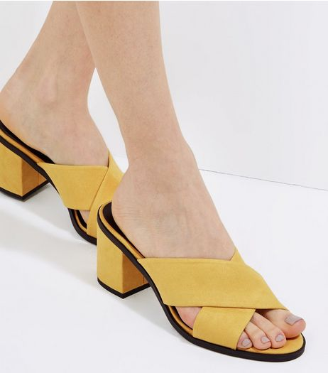 Yellow Suedette Cross Strap Heeled Mules | New Look