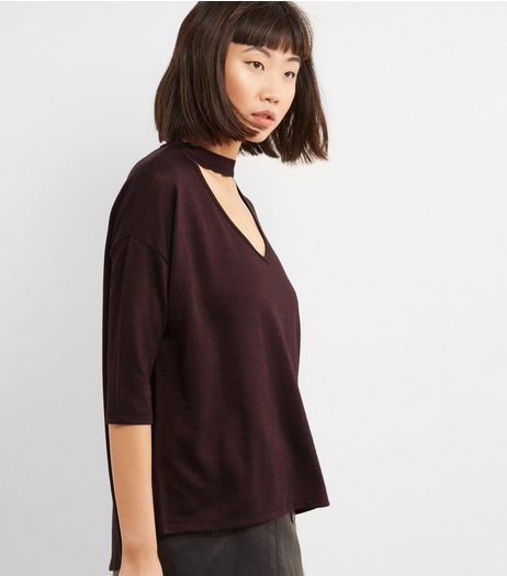 Burgundy Choker Neck Top  | New Look