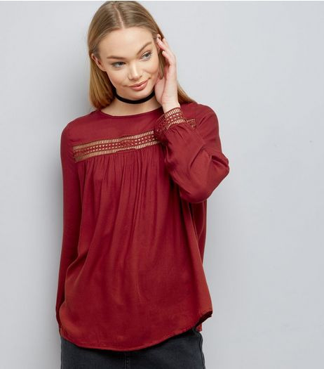 Red Cut Out Trim Long Sleeve Top | New Look
