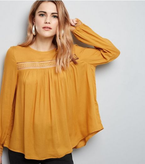 Yellow Cut Out Trim Long Sleeve Top  | New Look