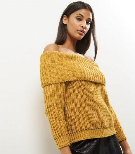 Yellow Ribbed Bardot Neck Jumper | New Look