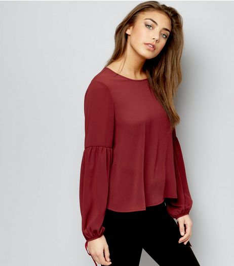 Dark Red Bell Tie Sleeve Top  | New Look