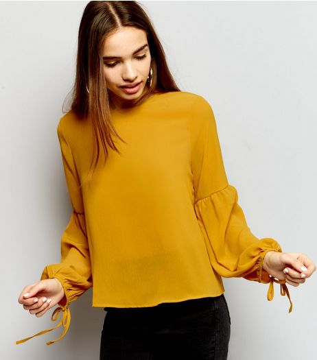 Yellow Tie Bell Sleeve Top  | New Look
