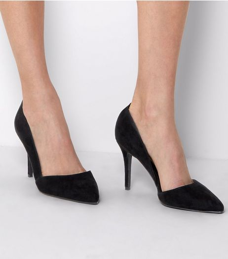 Black Suedette Cut Out Side Pointed Court Shoes | New Look