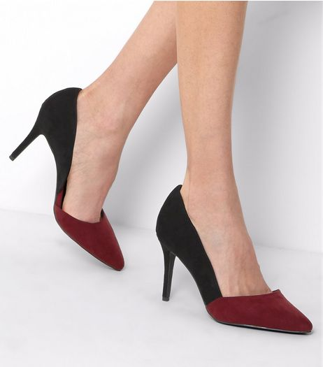 Dark Red Contrast Cut Out Side Pointed Court Shoes | New Look