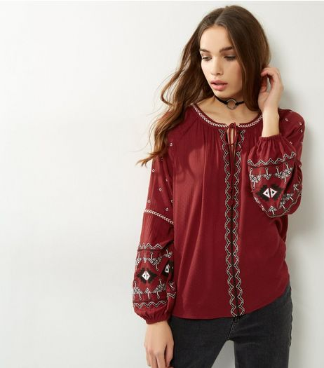 Red Embroidered Tie Front Top | New Look