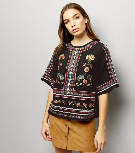 Black Embroidered Short Sleeve Top  | New Look