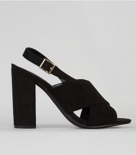 Black Suedette Ribbed Cross Strap Heels | New Look