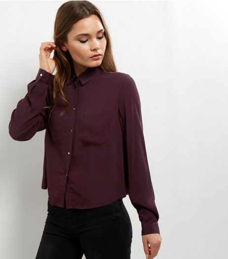 Dark Purple Long Sleeve Cropped Shirt  | New Look