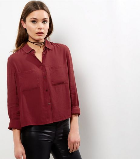 Dark Red Cropped Shirt | New Look