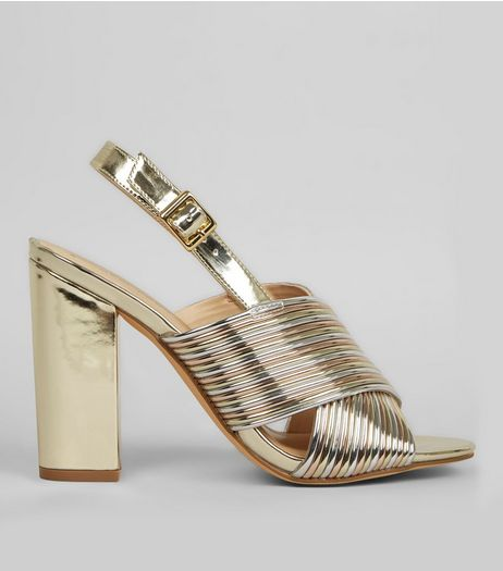 Multi Coloured Metallic Stripe Cross Strap Block Heels | New Look