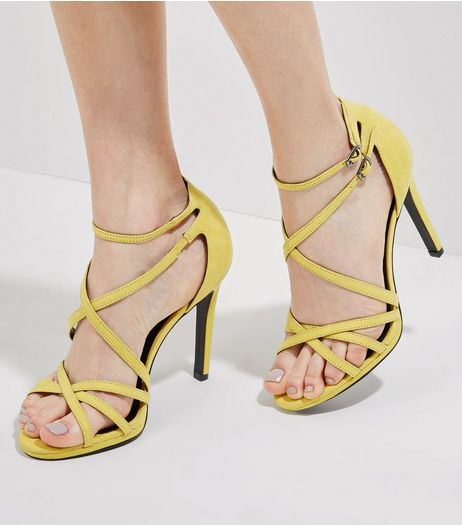 Yellow Suedette Multi Strap Heels | New Look