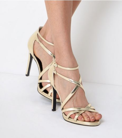 Gold Multi-Strap Heels | New Look