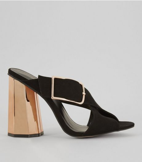 Black Suedette Contrast Flared Metal Heeled Mules  | New Look