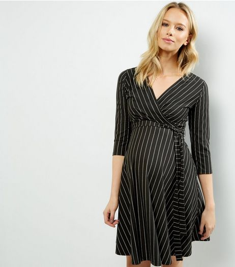 Maternity Black Stripe Wrap Front Dress | New Look