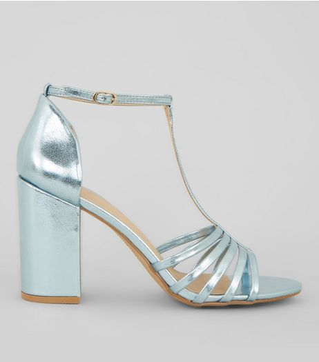 Blue Metallic Multi Strap Heeled Sandals | New Look