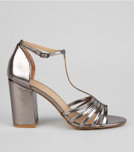 Pewter Metallic Multi Strap Heeled Sandals | New Look