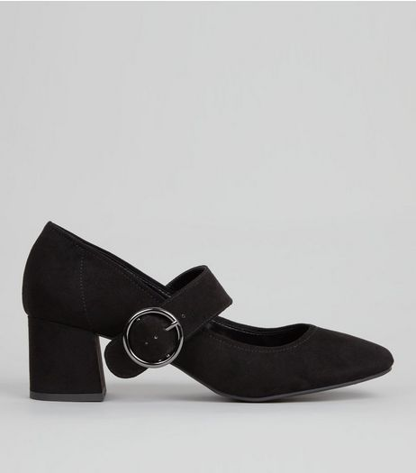 Black Suedette Buckle Strap Heels | New Look