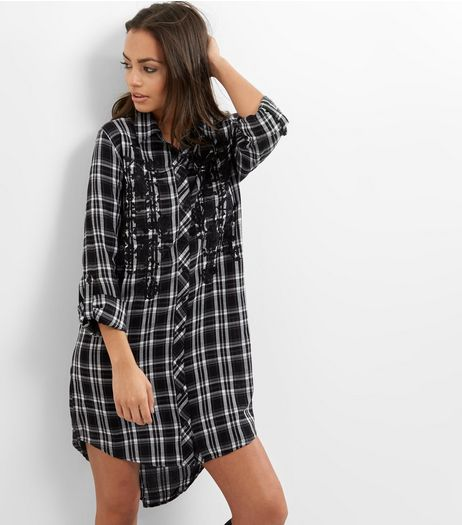 Black Floral Embroidered Check Longline Shirt  | New Look