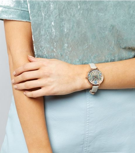 Grey Paisley Print Face Watch  | New Look