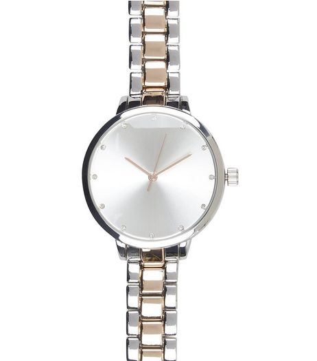 Silver Two Tone Sports Watch | New Look