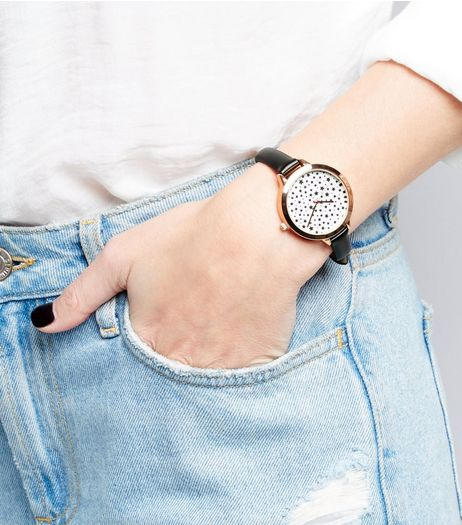 Black Star Print Dial Watch | New Look