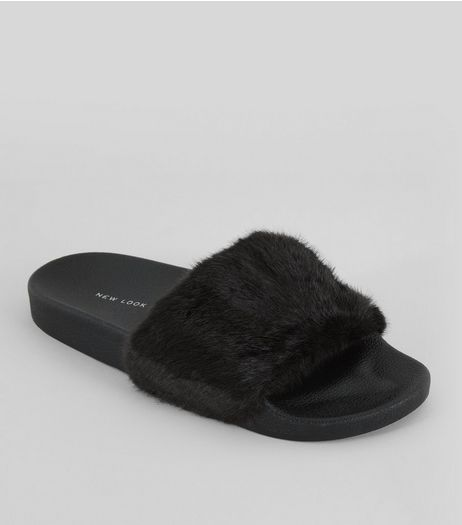 Black Faux Fur Sliders | New Look