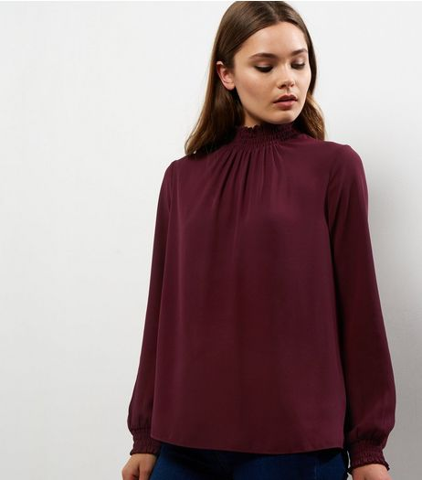 Burgundy Shirred Funnel Neck Long Sleeve Top  | New Look