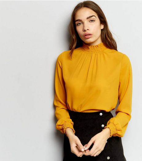 Yellow Shirred Funnel Neck Top  | New Look