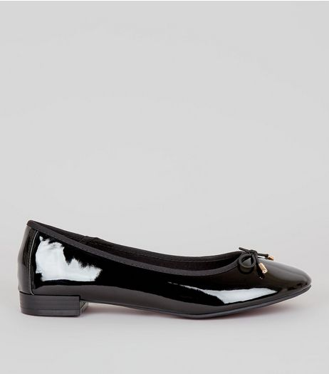 Wide Fit Black Patent Ballet Pumps | New Look