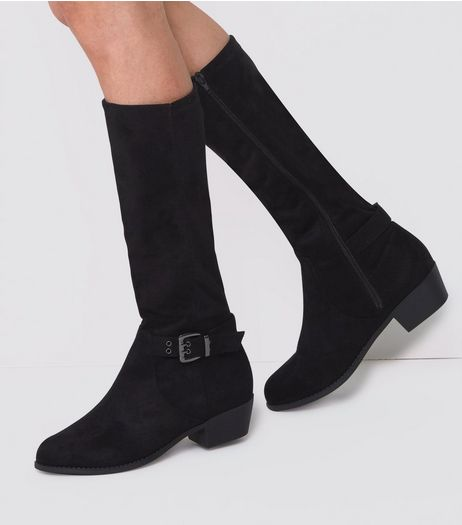 Wide Fit Black Buckle Side Knee High Boots  | New Look