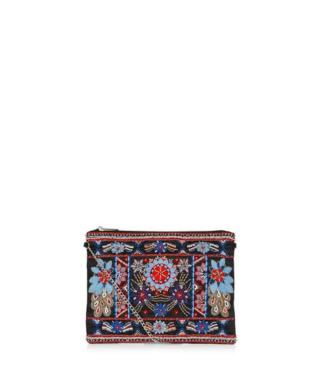 Black Embroidered Clutch Bag  | New Look