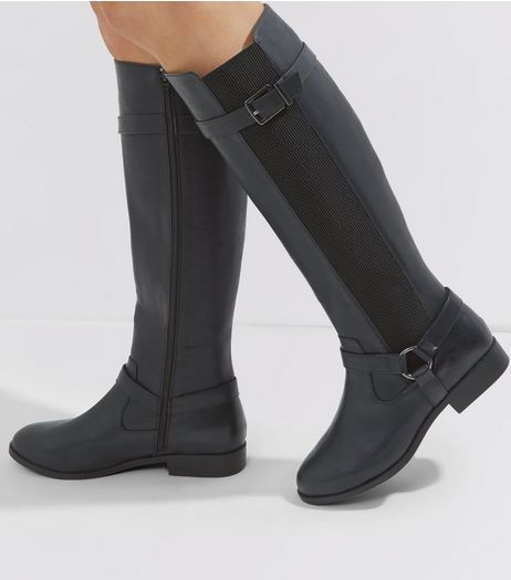 Wide Fit Black Stirrup Knee High Boots | New Look