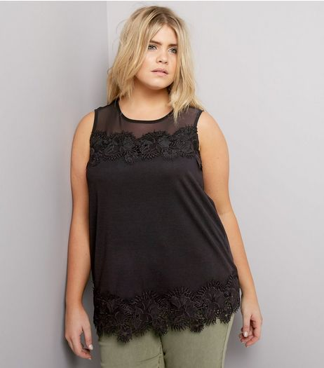 Curves Black Lace Sleeveless Top | New Look