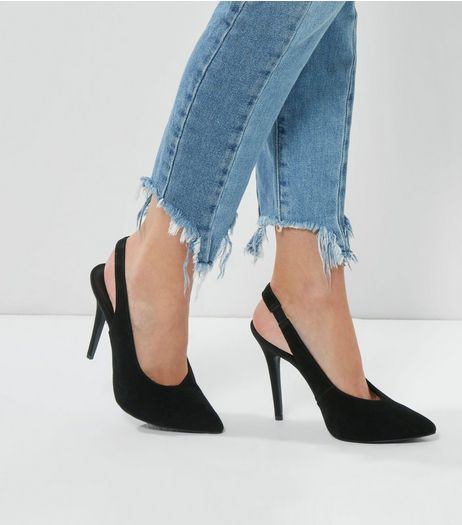Black Suede Pointed Slingback Heels | New Look