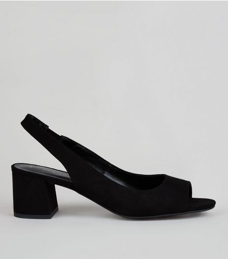 Black Peep Toe Sling Back Heels | New Look