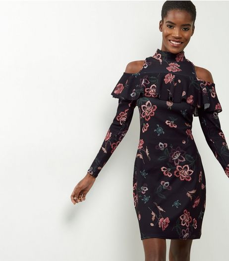 Loving This Black Cold Shoulder Floral Embroidered Dress | New Look