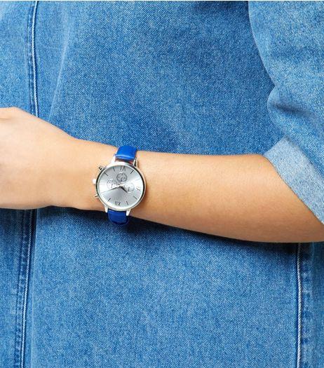 Blue Leather-Look Strap Mini Dials Watch   | New Look