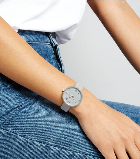 Grey Suedette Strap Watch | New Look