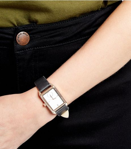 Black Square Face Textured Strap Watch  | New Look