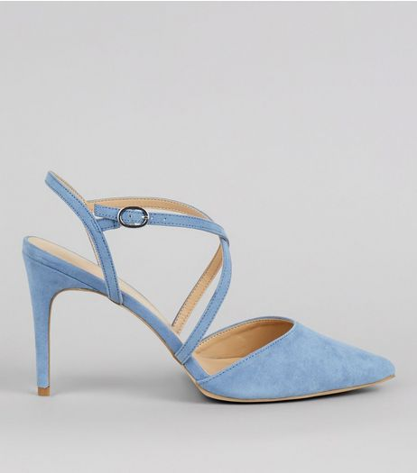 Blue Suedette Cross Strap Heeled Sandals | New Look
