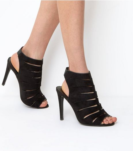 Wide Fit Black Wide Cage Front Heels | New Look