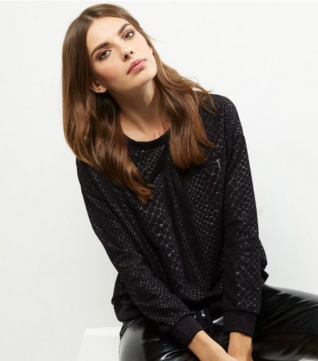 QED Black Snakeskin Drawstring Jumper | New Look