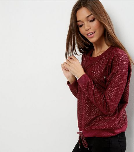 QED Dark Red Drawstring Hem Sweater | New Look