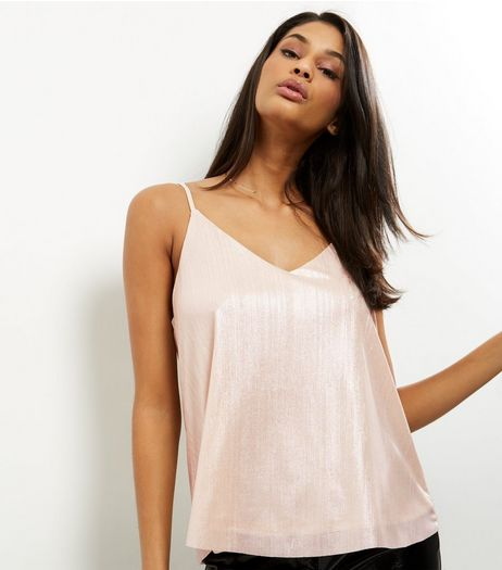 QED Pink Metallic V Neck Ribbed Cami | New Look
