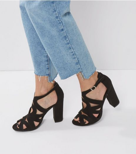 Black Suedette Cut Out Peep Toe Block Heels | New Look