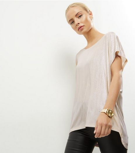 QED Gold Ribbed Oversized Top | New Look