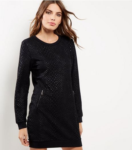 QED Black Snakeskin Print Jumper Dress | New Look