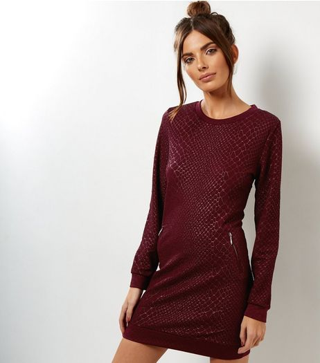 QED Dark Red Snakeskin Print Sweater Dress | New Look